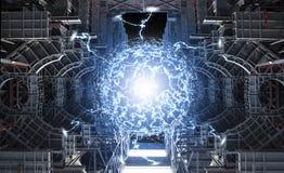 在反应器核心的强有力的能量反应 向量例证