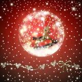 在发光的球圣诞卡里面的Rockinghorse 免版税库存照片