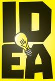 在发光的电灯泡的大想法 免版税库存照片
