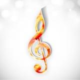 在发光的背景的五颜六色的音乐标志 免版税库存图片