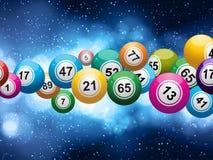 在发光的蓝色背景的宾果游戏球 免版税库存图片