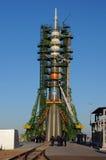 在发射台的联盟号TMA-15M 图库摄影