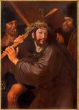 在发怒油漆下的布鲁日-基督由从前半的未知的画家18 分 在st Jacobs教会(Jakobskerk)里 免版税库存照片