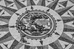 在发现的纪念碑的著名罗盘在里斯本贝拉母-里斯本/葡萄牙- 2017年6月14日 库存图片