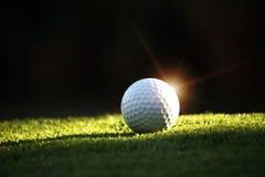 在发球区域的高尔夫球在夜背景的美好的高尔夫球场 在绿色的高尔夫球在高尔夫球场 免版税库存照片