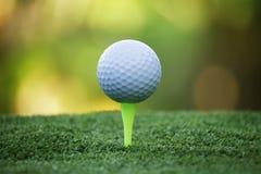 在发球区域的高尔夫球在日落的美好的高尔夫球场 免版税库存照片
