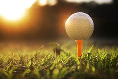 在发球区域的高尔夫球在美好的高尔夫球场有太阳上升背景 免版税库存图片