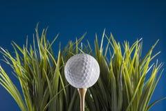 在发球区域的高尔夫球在草 免版税库存照片