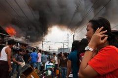 火灾事故在雅加达,印度尼西亚 免版税库存图片
