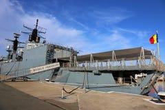 在口岸停泊的费迪南德国王大型驱逐舰 库存图片