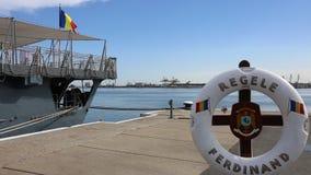 在口岸停泊的费迪南德国王大型驱逐舰 股票录像