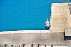 在口岸的巡逻艇 免版税库存照片