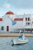 在口岸的希腊渔船 库存照片