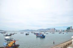 在口岸的渔船在越南 库存图片