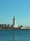 在口岸的灯塔MÃ ¡ laga (马拉加,西班牙) 免版税图库摄影