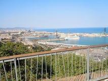 在口岸的看法在Barcelone,西班牙 免版税库存照片