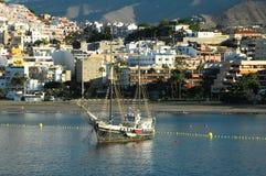 在口岸的老葡萄酒帆船 免版税图库摄影