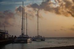 在口岸的风船 免版税库存照片