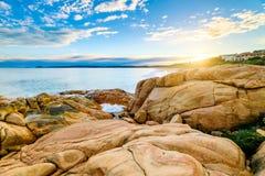 在口岸艾略特,南澳大利亚的美好的日落视图 图库摄影