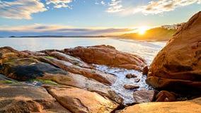 在口岸艾略特,南澳大利亚的美好的日落视图 免版税库存照片