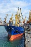 在口岸起重机下的散货船 免版税库存图片