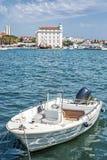 在口岸,分裂,克罗地亚的汽艇 免版税库存照片