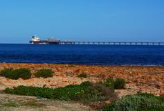 在口岸Bonython的海上石油 免版税库存照片