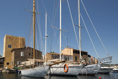 在口岸Grimaud,法国的小船 库存照片