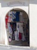 在口岸Grimaud,法国的纪念品店 库存照片