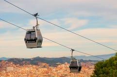 在口岸Vell和Montjuic小山之间的缆车 免版税图库摄影