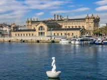 在口岸Vell,巴塞罗那的Aduana大厦 免版税库存图片