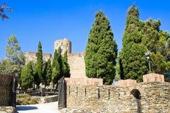 在口岸Vendres和科利乌尔,地中海,比利牛斯Orientales,鲁西永,法国之间的圣堡Elme 库存照片