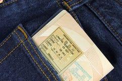 在口袋的护照 库存照片