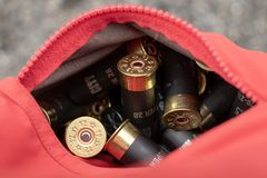 在口袋的猎枪弹长柄水杓比赛的 免版税库存照片
