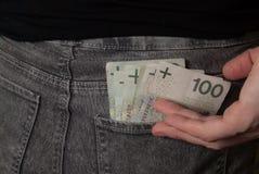 在口袋的笔记 免版税库存照片