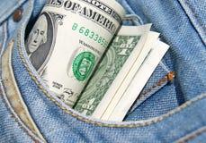 在口袋的金钱 图库摄影