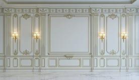 在古典样式的白色墙板与镀金料 3d翻译 免版税库存图片