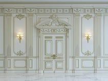 在古典样式的白色墙板与镀金料 3d翻译 免版税库存照片