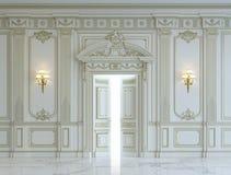 在古典样式的白色墙板与镀金料 3d翻译 库存图片
