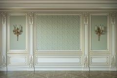在古典样式的米黄墙板与镀金料 3d翻译 库存例证