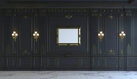 在古典样式的黑墙板与镀金料 3d翻译 免版税库存图片
