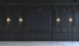 在古典样式的黑墙板与镀金料 3d翻译 库存图片