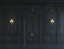 在古典样式的黑墙板与镀金料 3d翻译 免版税库存照片