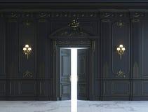 在古典样式的黑墙板与镀金料 3d翻译 图库摄影