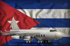 在古巴州旗子背景的轰炸机 3d?? 库存例证