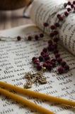 在古教会斯拉夫语语言的圣诗集 免版税库存照片
