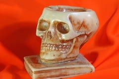在古老书和橙色背景上的伟大的头骨 库存图片