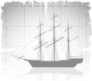 在古老地图的老船与栅格。 免版税库存照片