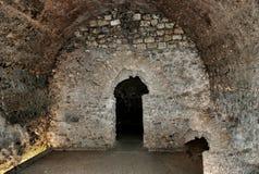 在古老堡垒其中一挖洞视域在塔拉贡纳 库存照片