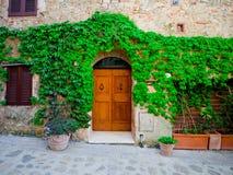 在古老大厦的葡萄酒门在托斯卡纳 免版税库存图片